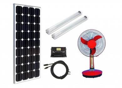 100W DC Solar Pakej LED dan Kipas Meja