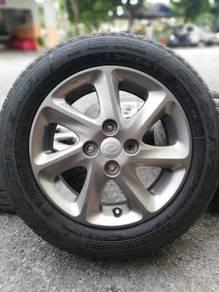 Original 14 inch sports rim myvi se tyre 70%