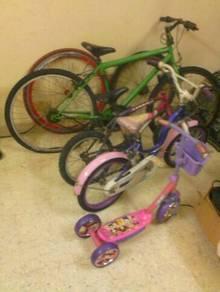 1 Besar,2 kecil bike,1 scooter,2rim sekali clear.