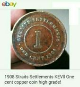 Duit syiling 1908 Straits Settlements 1 cent.