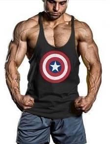 Captain amerika Fitness Gym Sport Singlet (Baju)