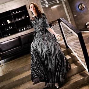 Black silver sequin prom wedding dress RBP0808