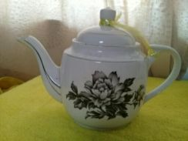 119 Antik teko kekwa hitam not kangkung teapot