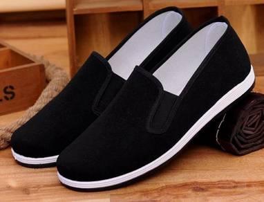 J0268 Black Loafer Men Canvas Slip On Casual Shoes