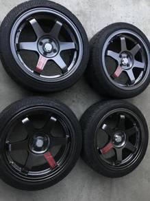TE37 17'' Sport Rim with Tyres 205/45 R17 Grey