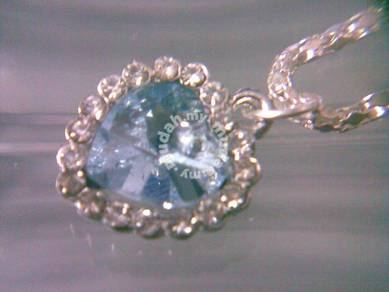 ABPJ-H016 Love Blue Heart of Ocean Silver Crystal