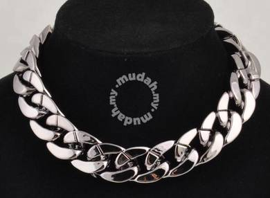 ABNP-C001 Silver BBC Plastic Link Chain Necklace