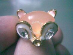 ABRGM-F003 Golden Pink Crystal Sweet Fox Ring