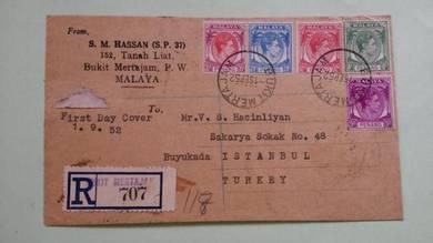 Antik Old FDC PENANG Turkey 1952 No 1015 SCARCE