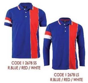 Baju Tshirt kolar POLO Lacoste Royal Blue/Red/Whit