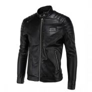 WM145 Simple Motorcycle Collar Leather Coat Jacket