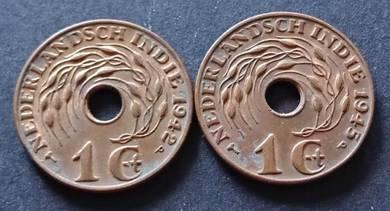 Nederlandsch Indie 1 Cent 1942 & 1945
