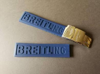 BREITLING 22mm Navy Blue Rubber Watch Strap