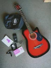 Acoustic Guitar Mukita red 8in1