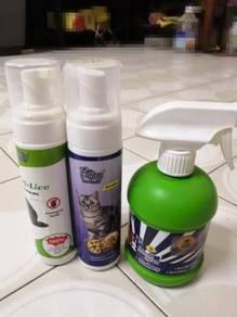Anti lice, anti loss fur serum, anti odour spray