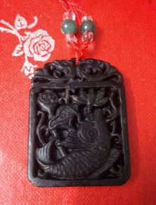 ABPJ-F011 BlackJade Gorgeous Fish Pendant necklace