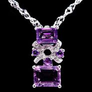 Pendant Purple Amethyst with necklace