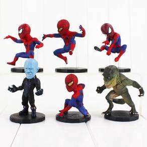 Q version Spiderman Figurine. 6 pcs set Cake Toppe