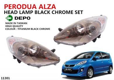 PERODUA ALZA Head Lamp Black Chrome Set DEPO