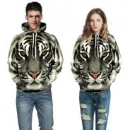 WM160 Style White Tiger Body Print Hooded Sweater