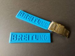 BREITLING 22mm Light Blue Rubber Watch Strap