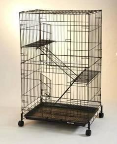 Sangkar Kucing Baru 2 Tgk Beroda-FREE 1 BOWL MAKAN