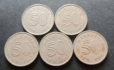 Duit Syiling 50 Sen 1967 & 1968 (5 pcs Set C)
