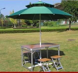 Outdoor Picnic Table Chair 2.4M green umbrella NSW