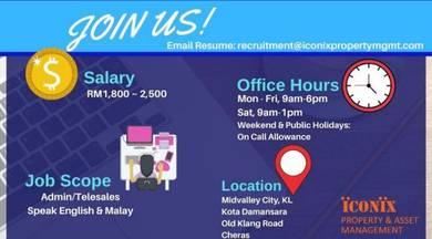 Admin, Telesales (Customer Servies Exec)