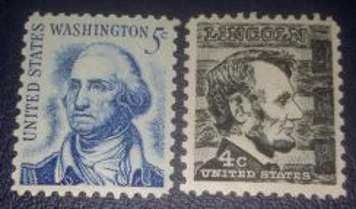 US Postage G.Wahington & A.Lincoln 1965 (2pcs)