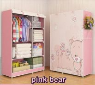 Canvas Wardrobe Pink Bear (1a)