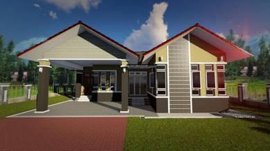Rumah banglo BESAR, design COMEY, tanah LUAS, Kg Renek