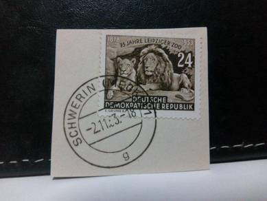 1953 Germany Stamp, Lions, Zoo