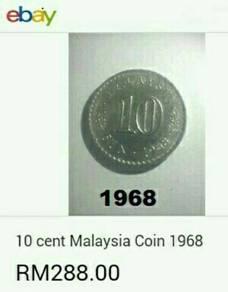 Duit syiling 1968 ~ 10 sen Parlimen.