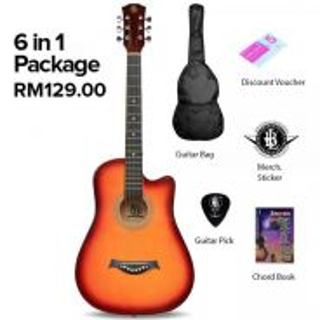 PB 38 Inch Acoustic Guitar (6 IN 1 SET) - Sunburst