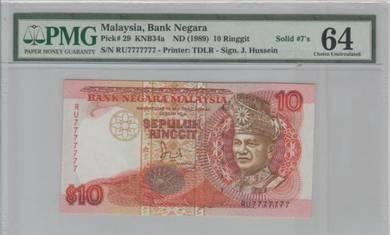 6th Series RM10 J Hussein Solid RU7777777 PMG64UNC