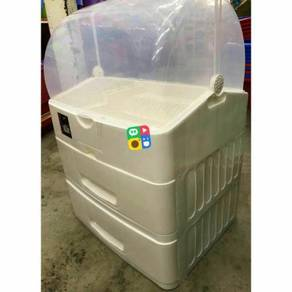 Plastic dish drainer with drawer
