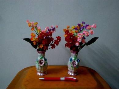 Plastic Flowers with Ceramic Vases