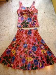 Batek Blouse And Flared Skirt