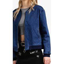 Zipper denim bomber jacket