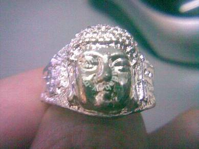 ABRSM-B005 Buddha Face Head Silver Metal Ring 8.75