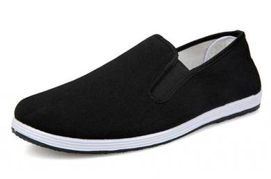 J0268 Black Loafers Canvas Slip Ons Casual Shoes