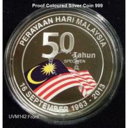 Coins of Malaysia 50th Rm10 silver coloured