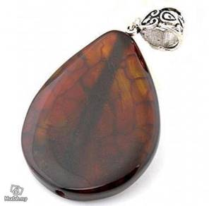 ABPJ-B002 Dragon Veins Sea Jasper Oval Necklace