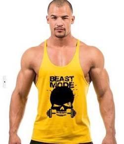 Beast Mode Yellow Gym Singlet (Sport Baju )