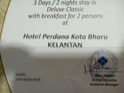 Voucher stay at hotel perdana kb
