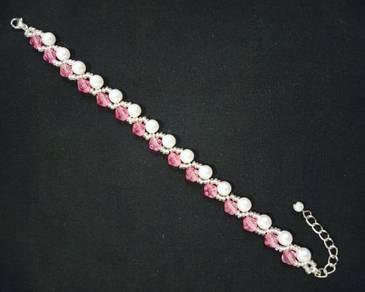 Handmade White Pearl Pink Vine Bracelet