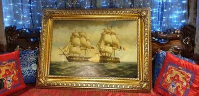 Vintage battleships oil painting ornate frame SLG