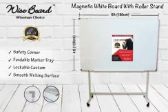 4ft x 6ft Magnetic White Board With Roller Stand