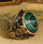 ABRB-G001 Green Eye Antique Bronze Europe Ring FS